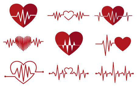 وکتور مجموعه قلب و علامت های نوار قلب و نبض بصورت لایه باز