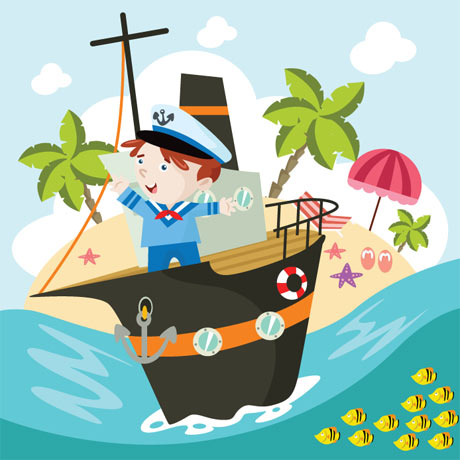 وکتور پس زمینه کارتونی پسر ملوان در کشتی روی دریا