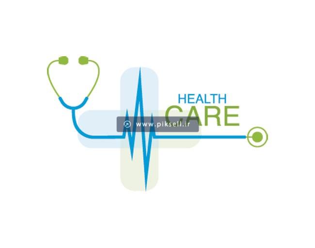 فایل لایه باز وکتور لوگوی پزشکی با المان های گوشی پزشکی و نوار قلب